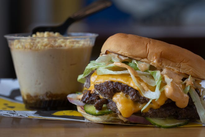 Classic double burger with banana pudding at Preston's in the North Market. (Photo by Tim Johnson)