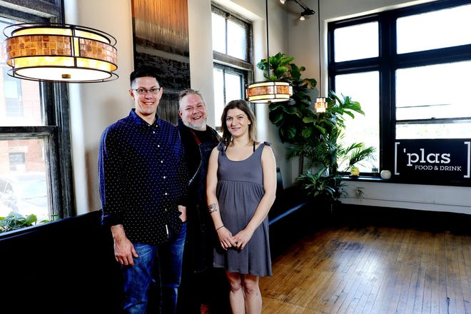 Chef Jamie George, center, with general managers Eric Bearfield, left, and Jackie Williams at 'Plas Food and Drink.