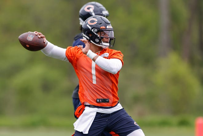 Chicago Bears coach Matt Nagy marveled at the arm strength shown by Justin Fields in last weekend's rookie minicamp.