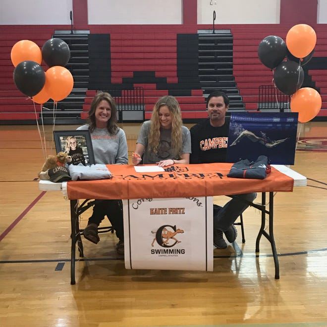 Wheatmore's Katie Fritz participates in a signing ceremony at the school. Fritz has signed with Campbell University for swimming. [Contributed photo]