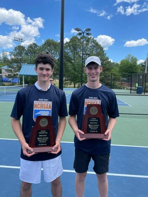 Ledford's Sam Kruse and Chris Hartzell won the 2-A doubles state championship over the weekend at the Cary Tennis Center. [Contributed photo]