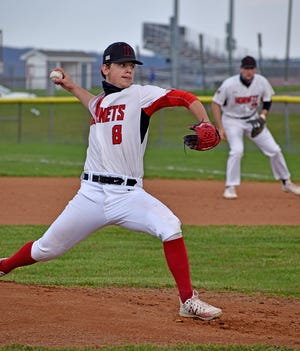 Honesdale's Joe Curreri rocks and fires during recent Lackawanna League baseball action at Keith Sutton Memorial Field. Curreri is among the Division II leaders with 44 strikeouts and a 2.42 earned run average.