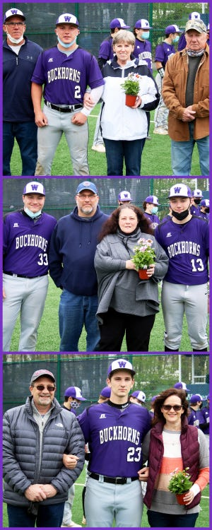 Wallenpaupack Area senior baseball players and their families. Top: Alex Gardsy (2) with dad Tim, and grandparents Helen and Gary Gardsy. Middle Joe Church (33) and Nick Church (13) with parents Anthony and Nicola Church. Bottom: Ben Falgie (23) with parents Steve and Maureen Falgie.