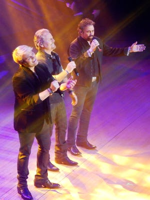 The Texas Tenors thrill a large Civic Music crowd Saturday at Burlington Memorial Auditorium. Left to right are Marcus Collins, JC Fisher and John Hagen. This was the trio's fourth Civic Music appearance.