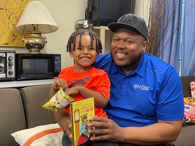 Shelton Carmen-Owens — shown here with his 3-year-old son, also named Shelton — came to Jacksonville in November without a job, place to stay or child care. With help from nonprofit Family Promise and its partners, he now has all three.