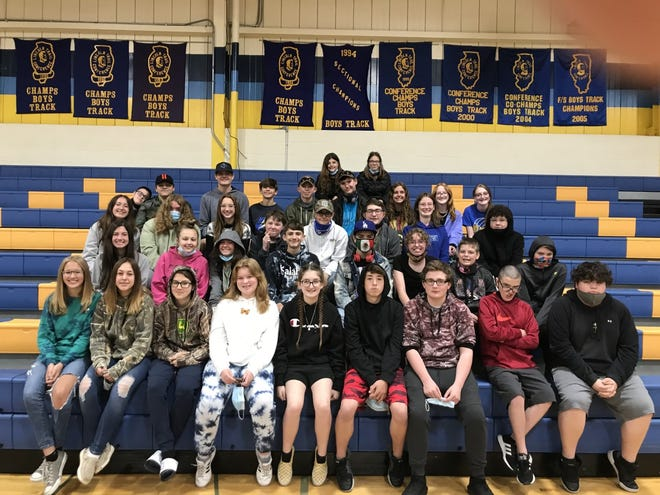 Thirty eight eighth graders will receive their promotion to high school Wednesday, May 26th at 7 p.m.  at the Galva Junior-Senior High School gym. Everyone is welcome but masks will be required and social distancing.  Pictured are in front from left,  Emma Farmer, Jasmine  Smith, Katelynn  Jones, Grace  Klein, Olivia Hartman, Alec  Gustafson, Chase  Huggins, Shane  Garcia, Jesse  Sterling.  Second row from left:  Lillian  Wigant, Isabelle  Smith, Olivia  Mlotek, Kyle Bloom, Jaxon  Johnson, Makayla  Craig, Preston Haga,   Tyler Williams  Third row from left:  Avery  Dooley, Cheyanne  Bell, Ariel   Martinez, Loagan Herr, Camron  O'Brien, Cole  Baulch, Loreyn Robinson, Matthew  Rouch,  Fourth row from left:  Christopher  Garcia, Dakota  Olander, Talan  Hull, Johnathan  Ingels, Jacob Conrad, Matthew Swank, Madison  Bates, Addison  Moore, Liberty  Brown,  Top row, from left:  Faith Simoneaux and Victoria  Conner  Absent from the picture was Joshua Gravitt and Christopher Williams.