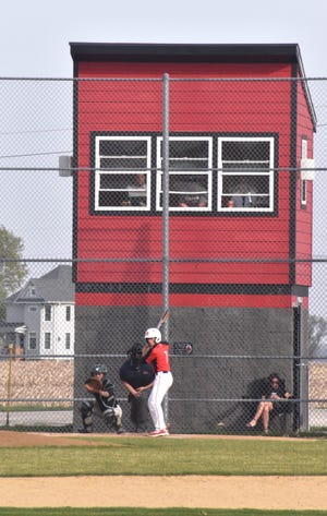Orion batter in front of press box