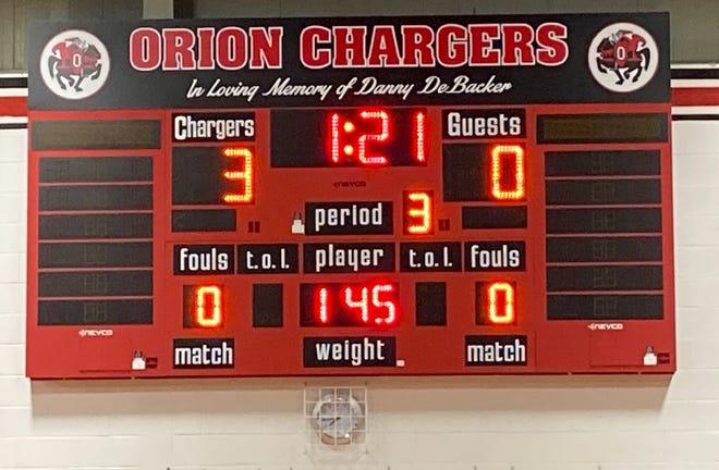 Scoreboard for wrestling in main gym