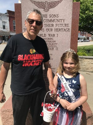 Shawney Nelson is Galva's Miss Poppy for 2021. She is the daughter of Lerin Mallery Galva and Fred Nelson also of Galva. She is 8 and just finishing third grade at Galva Elementary School. She is pictured with Galva's Mayor Rich Volkert. She will be downtown on Saturday, May 22nd selling poppy's. The red poppy is nationally recognized symbol of sacrifice worn by Americans since WWI to honor those who served and died for our country in all wars. It reminds all Americans of the sacrifice made by our Veterans while protecting our freedoms.