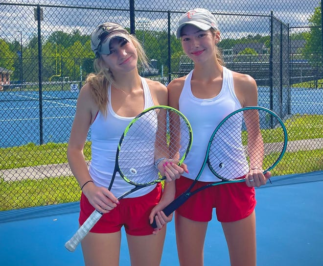 Hendersonville High's Perry sisters, McCollough (left) and Eliza, pose before a match earlier this season.