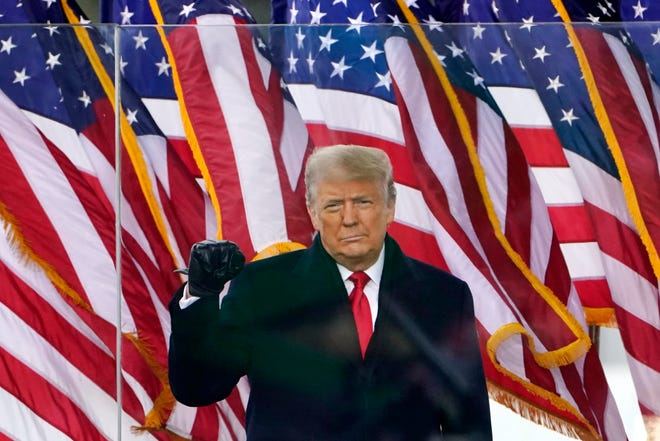 In this Jan. 6, 2021 photo, President Donald Trump arrives to speak at a rally in Washington. (AP Photo/Jacquelyn Martin, File)