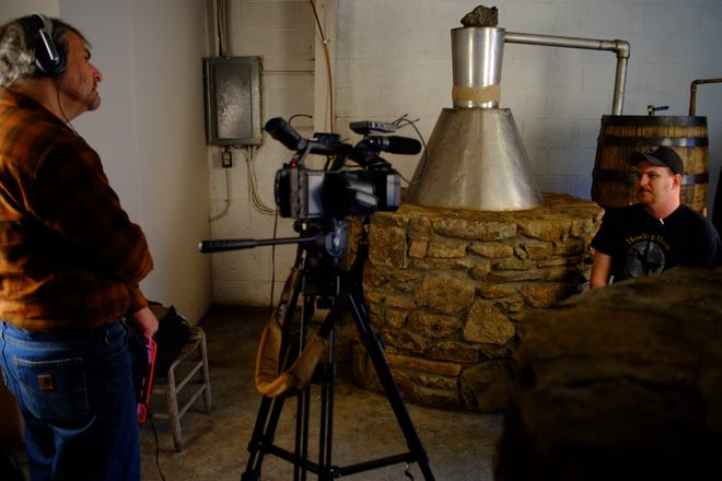 Cody Johnson and his family are chronicled in the film. Here he's interviewed by David Weintraub, executive director for the  Center for Cultural Preservation.