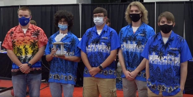 The Ripley High School robotics team won the state championship. Pictured left to right are David Kelley, Andrew Sarver, Jarrett Lough, Cayden Adkins and Wesley Hopper.