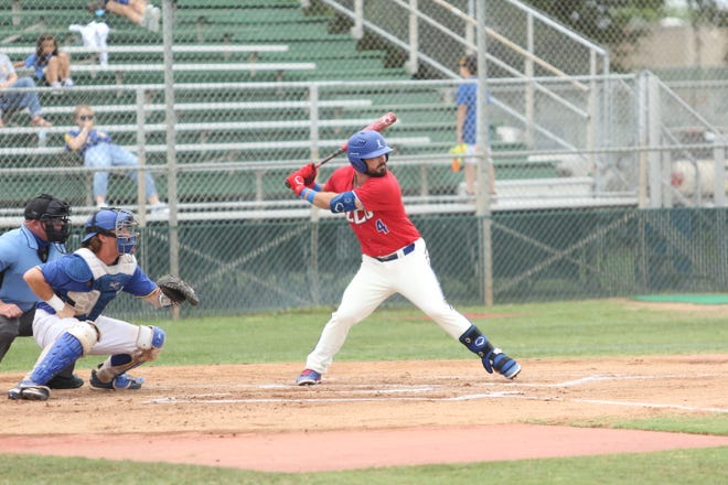 LCU outfielder Larry Leitha (4) hit a game-tying, three-run homer in the ninth inning of a 10-innings Chaps victory Saturday at Texas A&M-Kingsville. That win and another right after kept the Chaps alive in the Lone Star Conference tournament that continues Thursday in San Angelo.