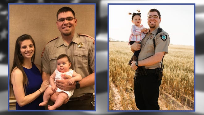 Photos of Deputy Samuel Leonard and his wife, Morgan, and daughter, Magnolia.