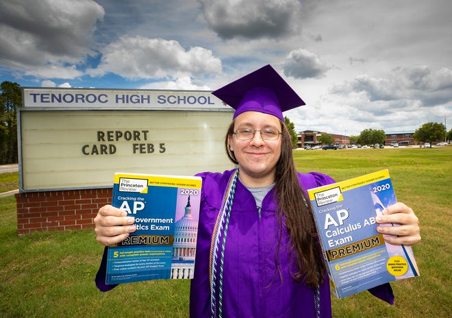 Tenoroc High School graduate Xavier Hobbs in Lakeland  Fl. Monday May 17 2021. Hobbs began pestering Tenoroc High administration and staff to add more AP classes. They did add a few but he missed out on 7.ERNST PETERS/ THE LEDGER