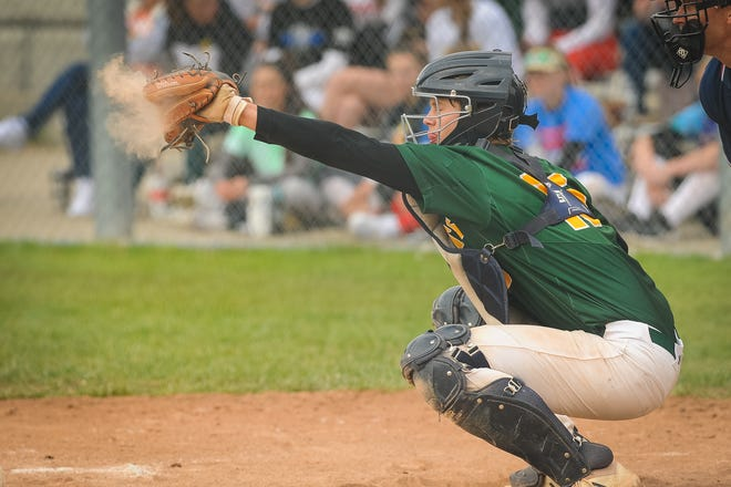 Shown is Basehor-Linwood junior catcher Carter Bergman. Bergman is batting .358 for the Bobcats with 13 RBIs and 10 extra-base hits.
