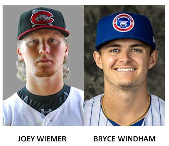 Joey Wiemer (Bedford) and Bryce Windham (St. Mary Catholic Central) helped their teams win minor-league baseball games Sunday.