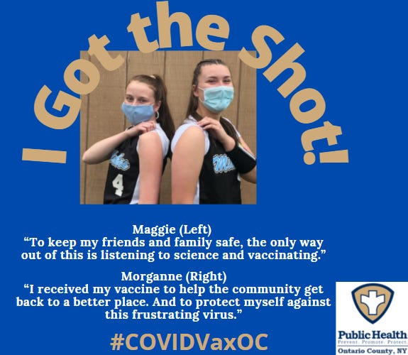 Maggie Mahoney, left, and Morganne Miles -- both Midlakes students and softball teammates -- are happy to encourage others to get their COVID-19 vaccines.