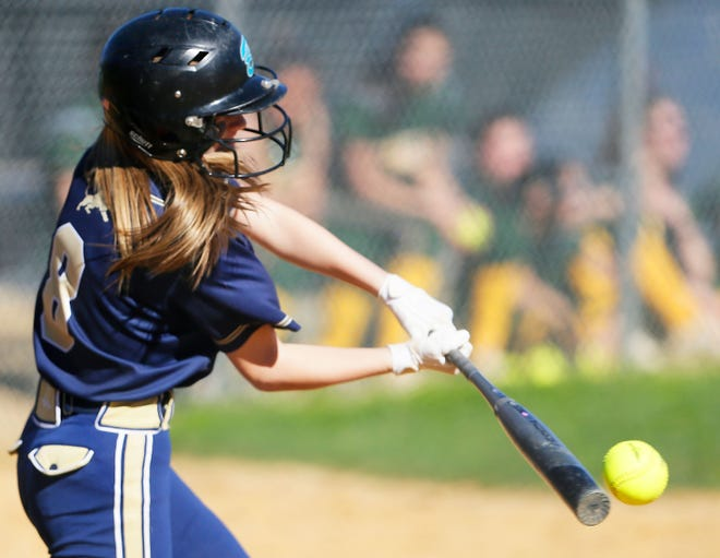Pope John's Emma Fernstrom bats during their game against Morris Knolls on April 24, 2019, at Pope John High School in Sparta.