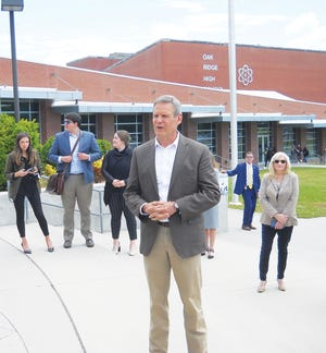 Tennessee Gov. Bill Lee visited Oak Ridge High School on Friday. While at the high school, he examined a flight simulator and an airplane students are constructing, and spoke  to a civics class. 'The efforts that you've made this year are incredible,' he told the teachers and students assembled in that class regarding the school year amidst the COVID-19 pandemic. 'You're really in the right school and the right class to learn about leadership,' he told the students, referencing ORHS graduates Cameron Sexton, the Tennessee Speaker of the House, and state Lt. Gov. Randy McNally. McNally and Sexton joined  him on the visit, along with state Rep. John Ragan, who said he is not an Oak Ridge High graduate, but still proud of the school. Read more about Gov. Lee's visit to ORHS in Tuesday's edition of The Oak Ridger.