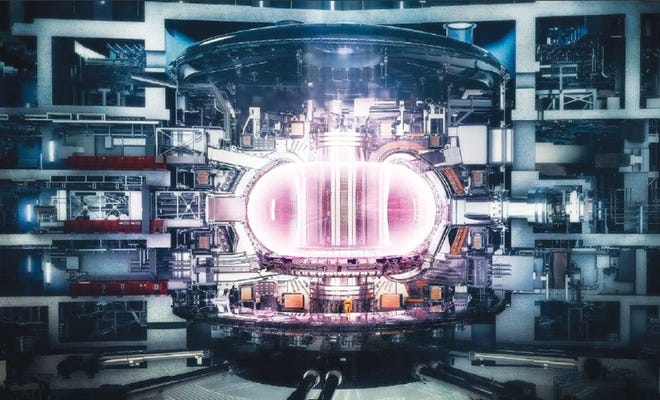 The ITER with a view of the plasma inside the Tokamak.