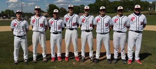 The eight seniors on the Pekin baseball team were honored during Senior Day last week. From left are Jacob Wattles, Tristen Rife, Luke Towery, Cael Jacobs, Brevin Fortier, Tanner Bradshaw, Ethan Hedge and Josh Barnes.