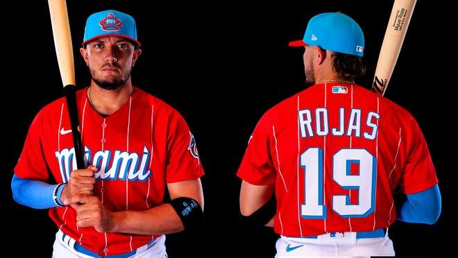 Miguel Rojas models the Marlins' new City Connect Series uniform.
