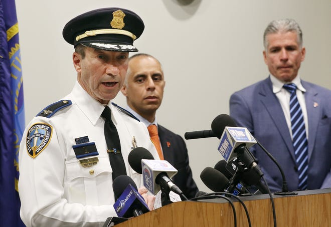 From left, Providence Police Chief Hugh Clements, Mayor Jorge Elorza and Public Safety Commissioner Steven Paré at a news conference in May about gun violence.