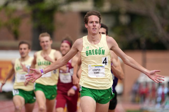 Cooper Teare of Oregon celebrates after winning the 1,500 in 3:39.81 during the Pac-12 Conference Championships in May.