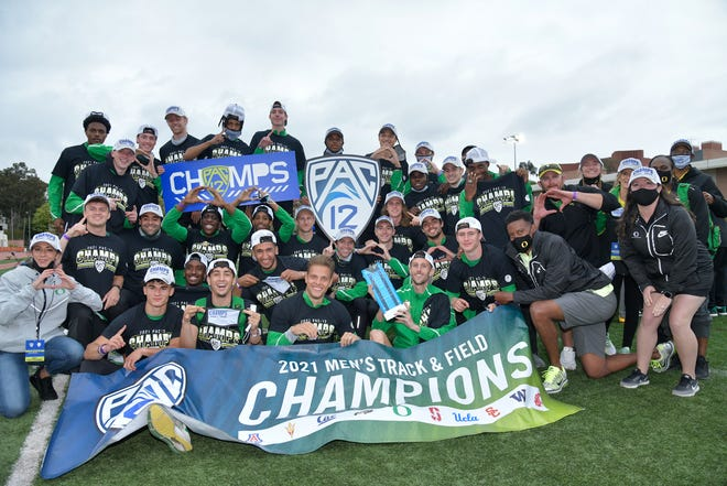 Oregon celebrates winning its 14th straight Pac-12 Track & Field Championship at Loker Stadium in Los Angeles Sunday.