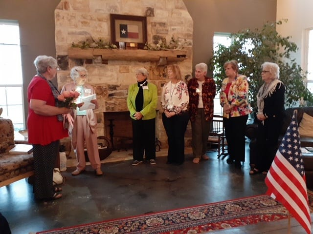Pictured from left are outgoing President Judith D'Amico; Charlene Lietz, who swore in the new officers; President Jane Klein; Vice President Dr. Rita Cook; Registrar Carol Dismukes; Historian Gloria Lietz; Chaplain Mary Mercer. Other officers not able to attend were Secretary Celia Shackelford and Treasurer Rose Taylor.