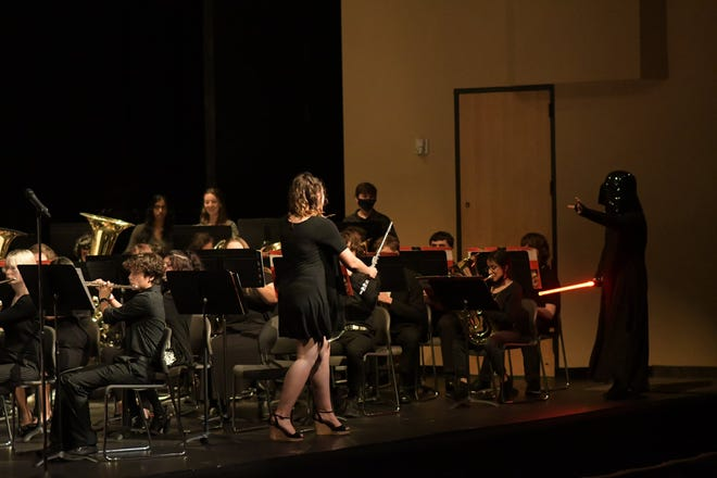 """The Stephenville High School Yellow Jacket Band performed its final symphonic band concert of the school year on May 11. The band presented """"Into Space"""" with music from """"The Planets,"""" """"Star Wars"""" and """"Avatar"""" with a guest appearance by Darth Vader."""