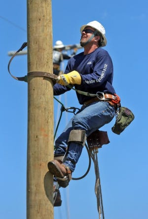 Mike Haynes is seen during a linemen competition in Shelby.
