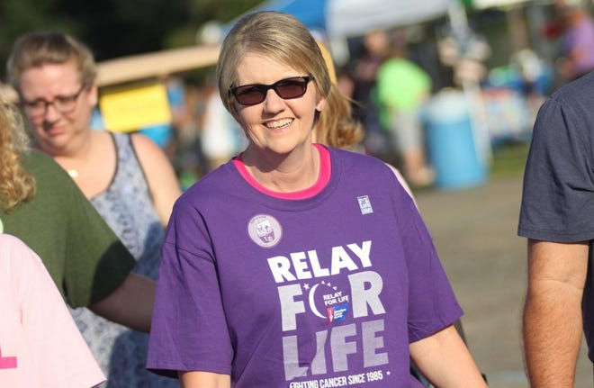 Cancer survivor Christine Ruff is seen participating in Relay for Life in 2019.
