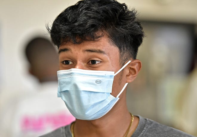 Erick Reynoso, 17, is among the Sarasota students who have been wearing masks during classes this school year. He is a senior at Booker High School.