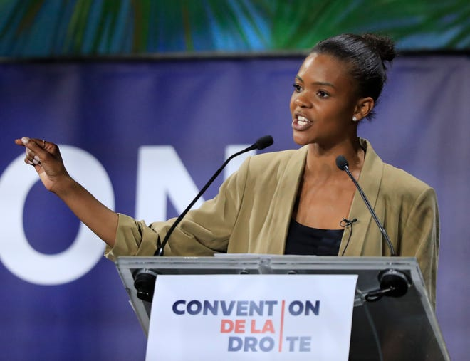 Candace Owens gestures as she speaks at the Convention of the Right, in Paris, Saturday, Sept. 28, 2019. Owens will be the keynote speaker for the 117th Lincoln Day Dinner at the Bank of Springfield Center on Thursday, May 20th in Springfield. (AP Photo/Michel Euler)