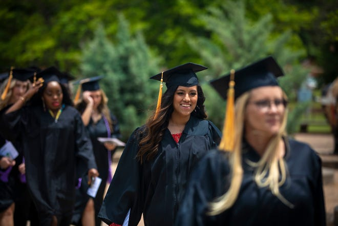 Graduating students embarked on a symbolic final walk across campus as OBU students before filing into Raley Chapel for each ceremony.