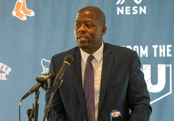 Holy Cross director of athletics Marcus Blossom speaks during a press conference to announce that Holy Cross will host Colgate on Oct 23 in the first football game to be played at Polar Park Monday, May 17, 2021.