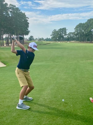 Taft Courie, seen here at Pinehurst Resort, has put together quite a resume as a 12-year-old golfer.