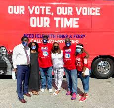 """The """"OUR VOTE, OUR VOICE OUR TIME"""" bus that is part of the Florida Rights Restoration Coalition Second Chance #The FreeTheVote Bus Tour will stop in Gainesville Saturday at Greater Bethel AME Church, 701 SE 43rd St."""