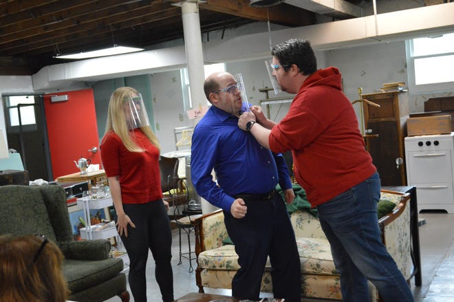 """From left, Michelle Boizelle, Andrew King and Nic Sigman rehearse for the farce """"No Sex Please, We're British,"""" which runs Friday, May 21 through Sunday, May 23 at The Potomac Playmakers."""