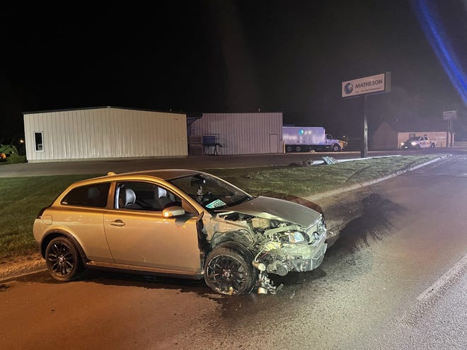 Jacob Brown, 25 of Watertown, was driving this car early Sunday morning when it left SD Highway 20 in Watertown, knocked over a light pole and then came to rest on the highway.