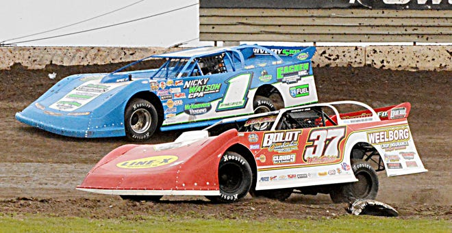 Watertown drivers Scott Ward (37) and Ryan Engels (1) finished first and second, respectively, in the late model feature race Sunday night at Casino Speedway