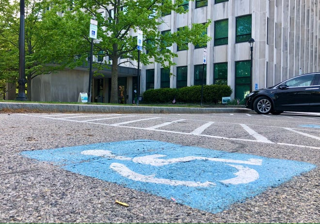 An accessible parking space outside Brookline Town Hall.