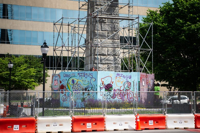 Construction workers began the removal process of Vance Monument on Monday, May 17th, 2021.