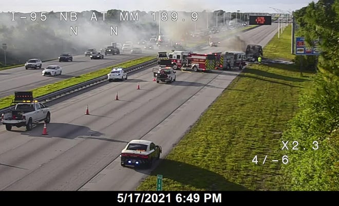 Northbound lanes of Interstate 95 were blocked as of 6 p.m. after a vehicle fire in the roadway.