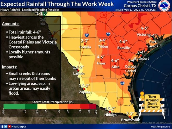 Isolated showers and thunderstorms are possible throughout the day and are likely to continue throughout the week, according to the National Weather Service in Corpus Christi.