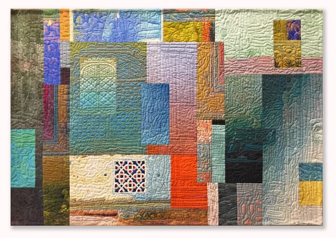 """Jaali 2 (Udaipur)  is a 28.5"""" x 40.5"""" quilt piece by Michael James. It will be on display as part of the Pushing the Surface exhibit at the Johnson-Humrickhouse Museum."""