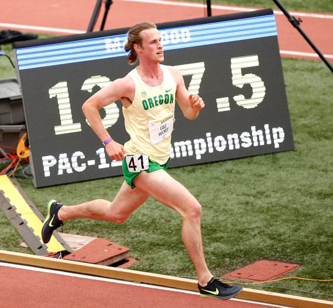Cole Hocker of Oregon runs the 5000-meter final at the PAC-12 Track & Field Championships at the University of California on May 16, 2021 in Los Angeles, California.